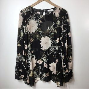 Lucky Brand Black Floral Sheer Blouse 3X